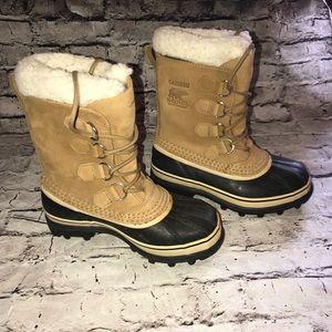 Sorel Caribou Boots Fur Lined Calf Brown Black 6